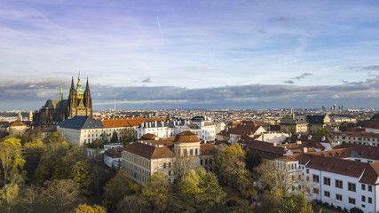 Prague Castle and Saint Vitus Cathedral Panoramic view, Czechia