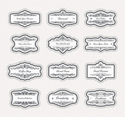 Vintage creative design template with beautiful flourishes ornament elements. Elegant design for corporate identity, logo, vintage ornament, retro decoration. Design of background products.