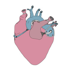 Mechanical real heart vector illustration