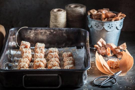 Sweet homemade fudge with sesame and sugar