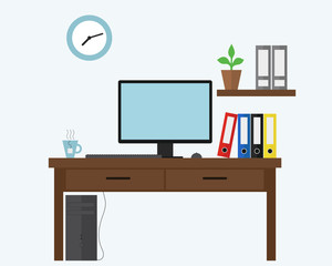 Vector illustration of blue office with computer under desk, files and document boxes and a cup of tea