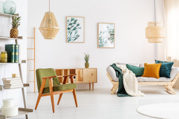 Armchair in spacious living room