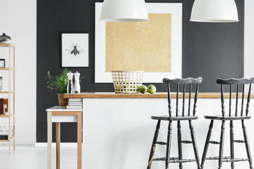 Contrast color kitchen interior