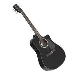 Black Wooden Acoustic Guitar. 3d Rendering