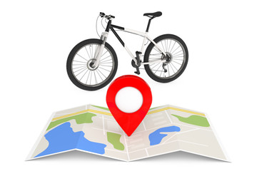 Black and White Mountain Bike Near Folded Abstract Navigation Map with Map Pointer Pin. 3d Rendering