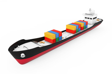 Business Logistic Concept. Tanker or Container Cargo Ship. 3d Rendering