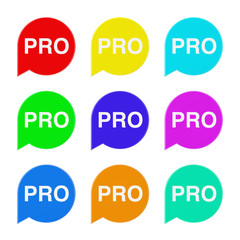 Set of Multicolour Speech Bubble Tag Lable with Pro Sign. 3d Rendering
