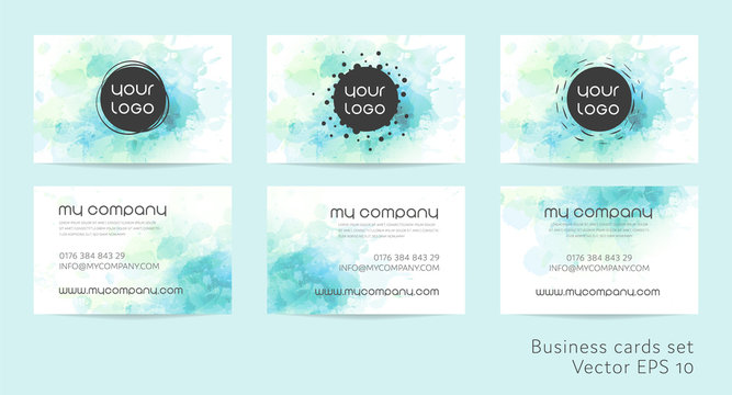 Business cards set in watercolor design.