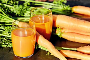 glasses of carrots juice