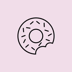 bitted donut line black icon
