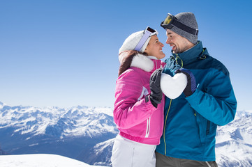 Loving couple on snow