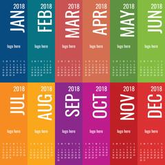 Year 2018 calendar vector template. Modern 2018 calendar. Vector of Calendar 2018 year, 12 month calendar with cover. 2018 Planner - illustration. Vector template of 2018 calendar/planner