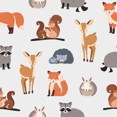 Seamless pattern with different cute cartoon forest animals on white background - squirrel, hedgehog, fox, deer, rabbit, raccoon. Flat vector illustration for textile print, wallpaper, wrapping paper.