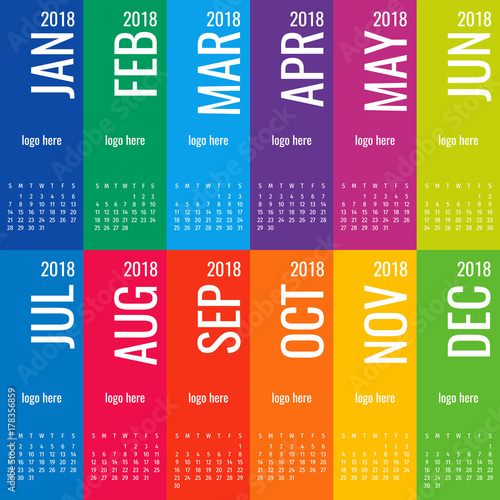 Year 2018 Calendar Vector Template Modern 2018 Calendar Vector Of