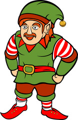 Red-haired christmas elf with mustache on white background