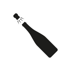Champagne bottle explosion icon isolated on white background. Vector illustration