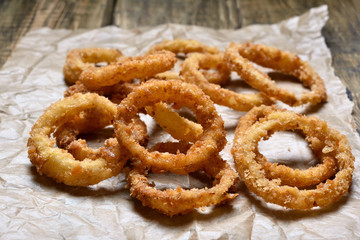 Onion rings on paper