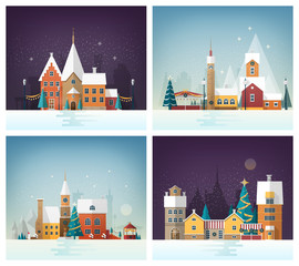 Collection of winter cityscapes or urban landscapes with holiday street decorations and decorated buildings. City or town in New Year or Christmas eve. Festive vector illustration in flat style.