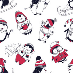 Seamless pattern with funny baby penguins dressed in winter outerwear on white background. Backdrop with cute cartoon antarctic birds. Vector illustration for wallpaper, textile print, wrapping paper.