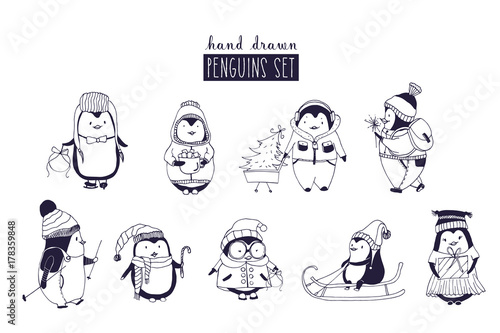 Bundle Of Baby Boy And Girl Penguins Wearing Winter Clothing And