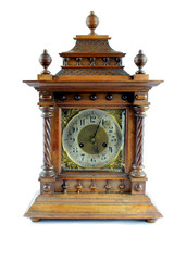 Antique Vintage Clock on Plain Background