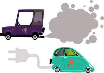 Electric car and gasoline or diesel car emission, EPS 8 vector illustration
