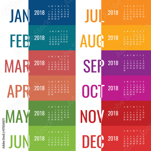 year 2018 calendar vector template modern 2018 calendar vector of calendar 2018 year