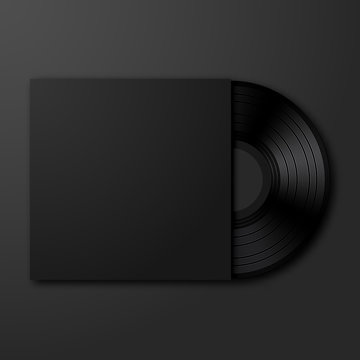 Vector vinyl record on black background. Stylish vinyl with black blank empty cover mockup template with copyspace for your design.
