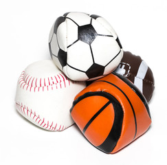 Collection of sport ball with soccer, rugby, baseball and basket ball on a white background