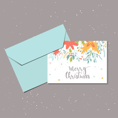 Merry Christmas cute greeting card with floral and envelope for present