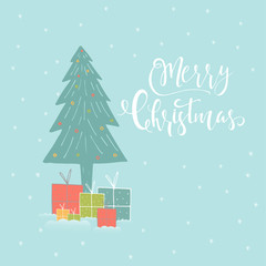 Merry Christmas cute greeting card with forest, tree, lettering for presents.