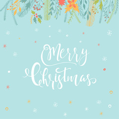 Merry Christmas cute greeting card with floral, lettering for presents.