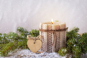 knitted candle fir tree for Christmas decoration