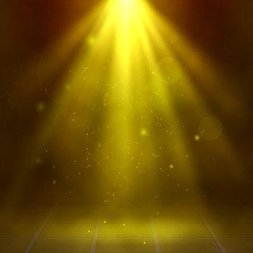 Yellow spotlights, fog, smoke. Scene. Disco. Light Effects. Vector illustration
