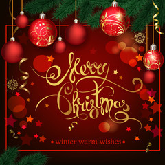 Christmas background with red balls and lettering