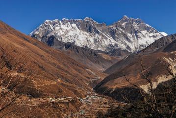 Nepal pangboche village Nuptse Everest Lhotse peaks