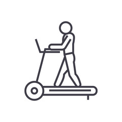 fitness treadmill concept vector thin line icon, sign, symbol, illustration on isolated background