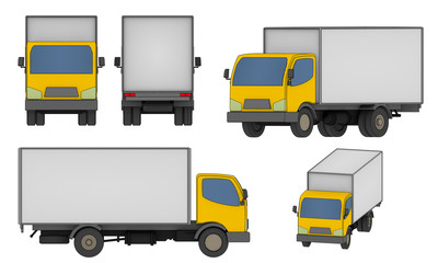 set of all views small cargo truck illustration isolated on white background