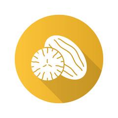 Nutmeg flat design long shadow glyph icon