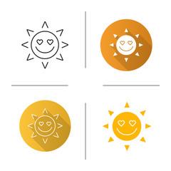 In love sun smile icon