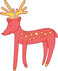 Forest animal deer doodle cartoon simple illustration. kids drawing style
