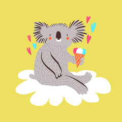 Cute baby koala with ice cream sitting on a cloud. Cartoon vector illustration.