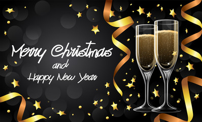 Merry Christmas and Happy New Year greetings card with champagne glasses and golden ribbons, lettering, illustration design template