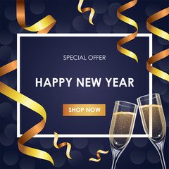 New Year special offer, sales offer banner design template with golden ribbons, champagne glasses and frame, vector illustration
