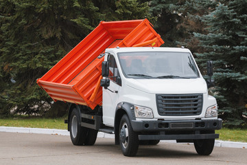 Small dump truck with red body
