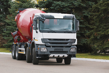 Construction truck - concrete mixer with red body