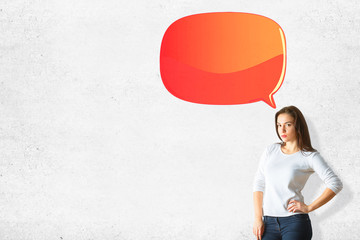 Attractive woman with empty speech bubble