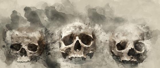 Printed roller blinds Watercolor Skull human skulls. Watercolor background