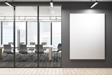 Modern meeting room with blank banner
