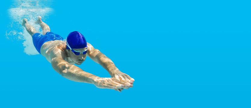 Tauchen Schwimmen Mann Sprung Wasser blau